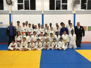 A photo of the Harlow Town Judo Club, with Senior Coach Mick Ellis
