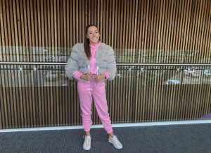 Gabreille wearing tracksuit from GBoutique